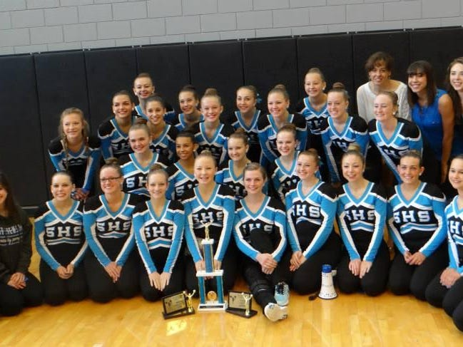 The Stevenson High School varsity pom team received the Grand Champs Award – the highest award given – for their performance at the Mid American Pompon camp in June. The Spartans also received the Team Unity and Most Congenial Team awards. Team members include (front row, from left) Mid American staff member Amber Prong, Natalee Dagher, Caitlyn Regan, April Burling, Casey Figures, Jaime Roderick, Cady Ericson, Allison Paulus, Lauren Raden, Julia D'Orazio, Alaina Pierson and staff member Cassidy Koviak, (second row, from left) Alex Engle, Katie Orlich, Jocelyn Figures and Eva Koelzer, (third row, from left) Hope McMullen, Janine Shymanski, Keri Martin, Jenna Fisher, Jenna Roderick, Kelly Jarosz and Holly Cleaver and (fourth row, from left) Shelby Pelc, Caroline Kaniowski, Lexis Cholette, Maddie Dawson, coach Kelly Sikorski, coach Shaylyn Sikorski, coach Savannah Sikorski and coach Jessica Wilhoite.