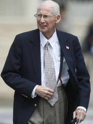 Kansas State coach Bill Snyder walks onto the field for the Wildcats' spring game April 22.
