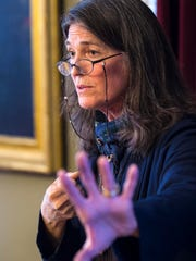 Author and anthropologist Dana Walrath speaks during