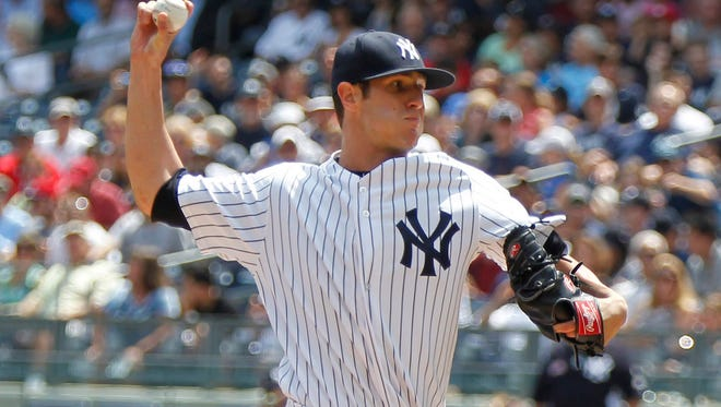 Yankees pitcher Shane Green delivers in the first inning against the Detroit Tigers at Yankee Stadium on Thursday. Greene was stellar, throwing eight-plus innings in the Yankees' 1-0 victory.
