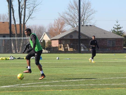 Louisville City FC defender Alexis Souahy practices