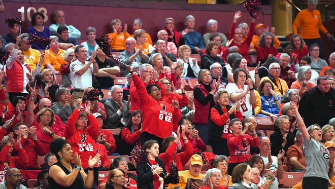 Georgia fans cheer on the Bulldogs as they play Auburn during their SEC women's basketball tournament game at Bon Secours Wellness Arena on Thursday, March 2, 2017.