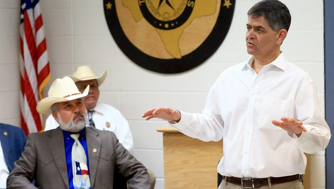 U.S. Representative Filemon Vela talks to community members about the impact of President Trump's policies on Tuesday, May 30, 2017, at Jim Wells County Sheriff Department in Alice.
