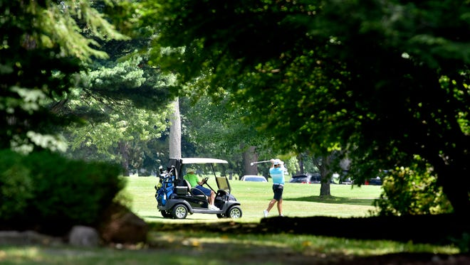 People play golf on the Detroit Golf Club course, as seen from Fairway Drive, which borders the club on the west.
