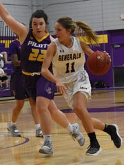 LSUA's Courtney Dawsey (11) drives as the Generals defeated the Louisiana State University at Shreveport Lady Pilots 81-76 in game action at The Fort Thursday, Jan. 17, 2019.
