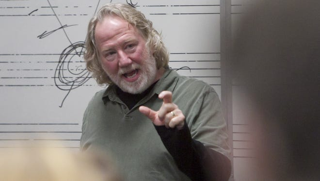 Professional actor, director and producer Timothy Busfield talks about the structure of three-act storytelling to a creative writing class at Brighton High School earlier this year.
