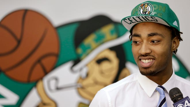 Boston Celtics draft pick James Young was introduced to the media on Monday in Waltham, Mass.