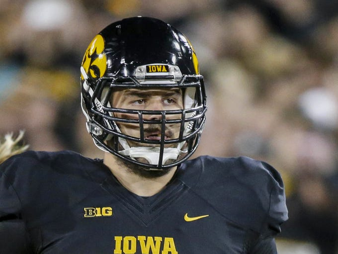 Iowa senior offensive lineman Austin Blythe leads members