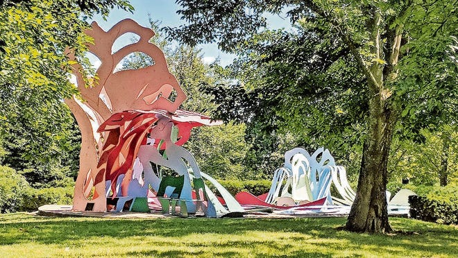Modern art is tucked among trees in the Pyramid Hill Sculpture Park and Museum in Hamilton, Ohio.