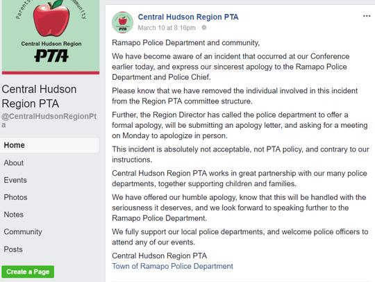 Facebook screenshot of an incident between Ramapo PD