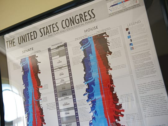 A poster hangs on the office walls of Emily Wanless, an assistant professor of government and international affairs at Augustana University.