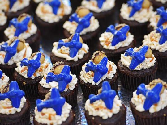 Cupcakes to celebrate the Sioux Falls Regional Airport's millionth passenger this year Thursday, Dec. 22, 2016, at the airport in Sioux Falls.