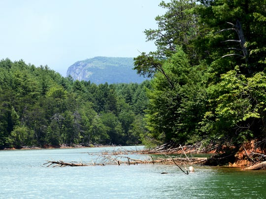 A view of Shortoff Mountain in the Linville Gorge is seen from the water on Lake James between areas of Lake James State Park in 2016.