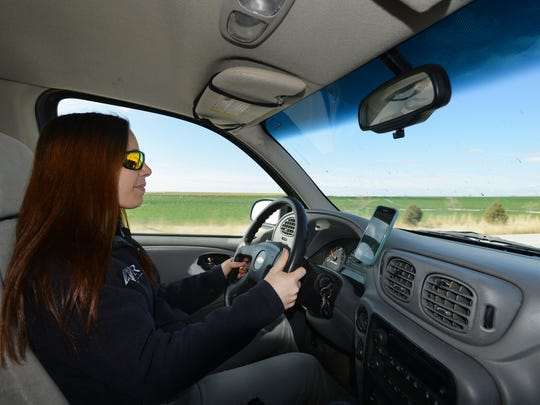 Kate Vardiman commutes from her home in Ault to her job in Fort Collins on Thursday, April 20, 2017.
