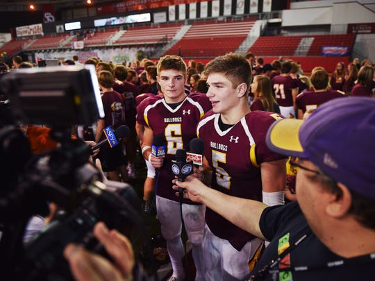 Madison's Jaxon Janke and Jadon Janke talk to press after their 42-20 win against Dakota Valley Saturday, Nov. 11, at the DakotaDome in Vermillion.