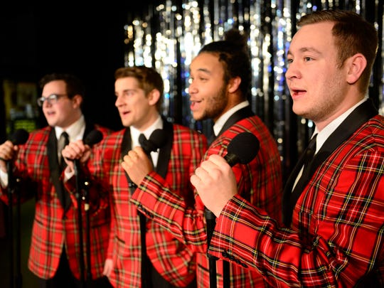 "From left, Carlos Baez, Jr. as Smudge, Aaron Brown as Sparky, Josh Heard as Frankie, and Brian Bryant as Jinx will perform in Fremont Community Theatre's ""Plaid Tidings."""