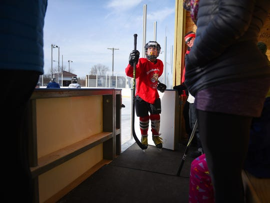 Gage Guimont, Mites, walks off the ice after practice