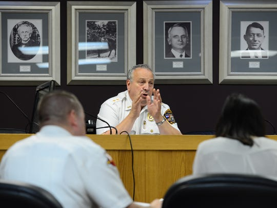 Police Chief Michael Cioffi during a disciplinary hearing