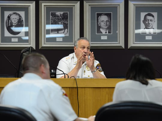 Police Chief Michael Cioffi during a disciplinary hearing for Lt. Scott Mura in 2015.