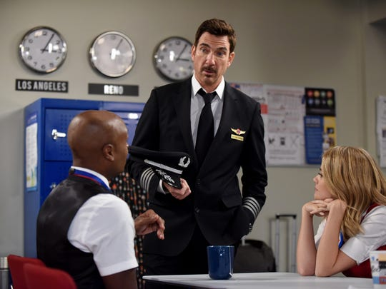 Bernard (Nathan Lee Graham, left), Captain Dave (Dylan McDermott) and Ronnie (Kim Matula) make up the lovable flight crew of Fox's new ensemble comedy 'LA to Vegas.'