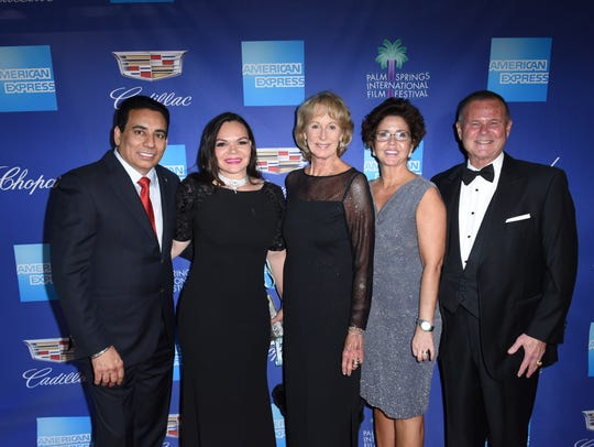 Nachhattar and Susana Chandi, at left, pose on the red carpet with Shellie Reade and Jennifer and Stan Sniff, the former Riverside County sheriff.