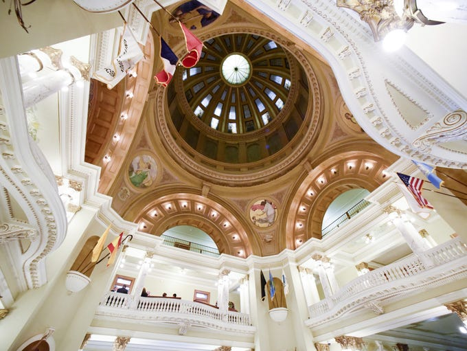 The rotunda in the South Dakota State Capitol on Jan.