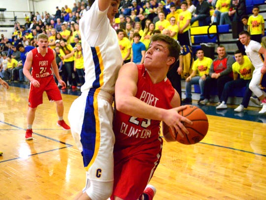 Port Clinton's Cooper Stine scored 19 points Saturday against Clyde, including 10 in the fourth quarter.