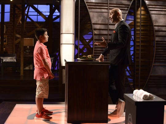 """Anthony Martino Jr. of Old Bridge listens to MasterChef Junior judge Joe Bastianich on the set. Anthony and 39 other young chefs vie for the Top 24 in Season 6 of """"MasterChef Junior"""" at 8 p.m. Friday on Fox."""