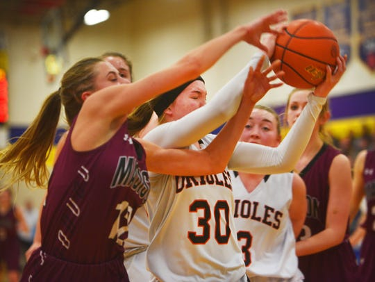 Lennox's Rianna Fillipi goes against Madison defense