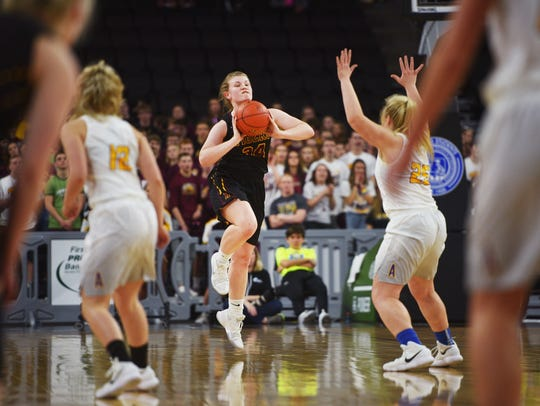 Harrisburg's Sydney Halling attempts to score before