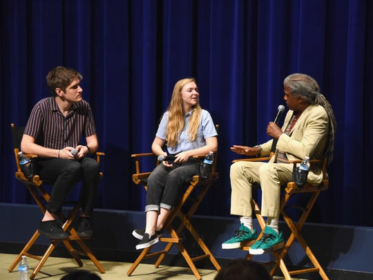 Bo Burnham (left) and  Elsie Fisher are interviewed by Elvis Mitchell on July 12, 2018, in Beverly Hills, California.