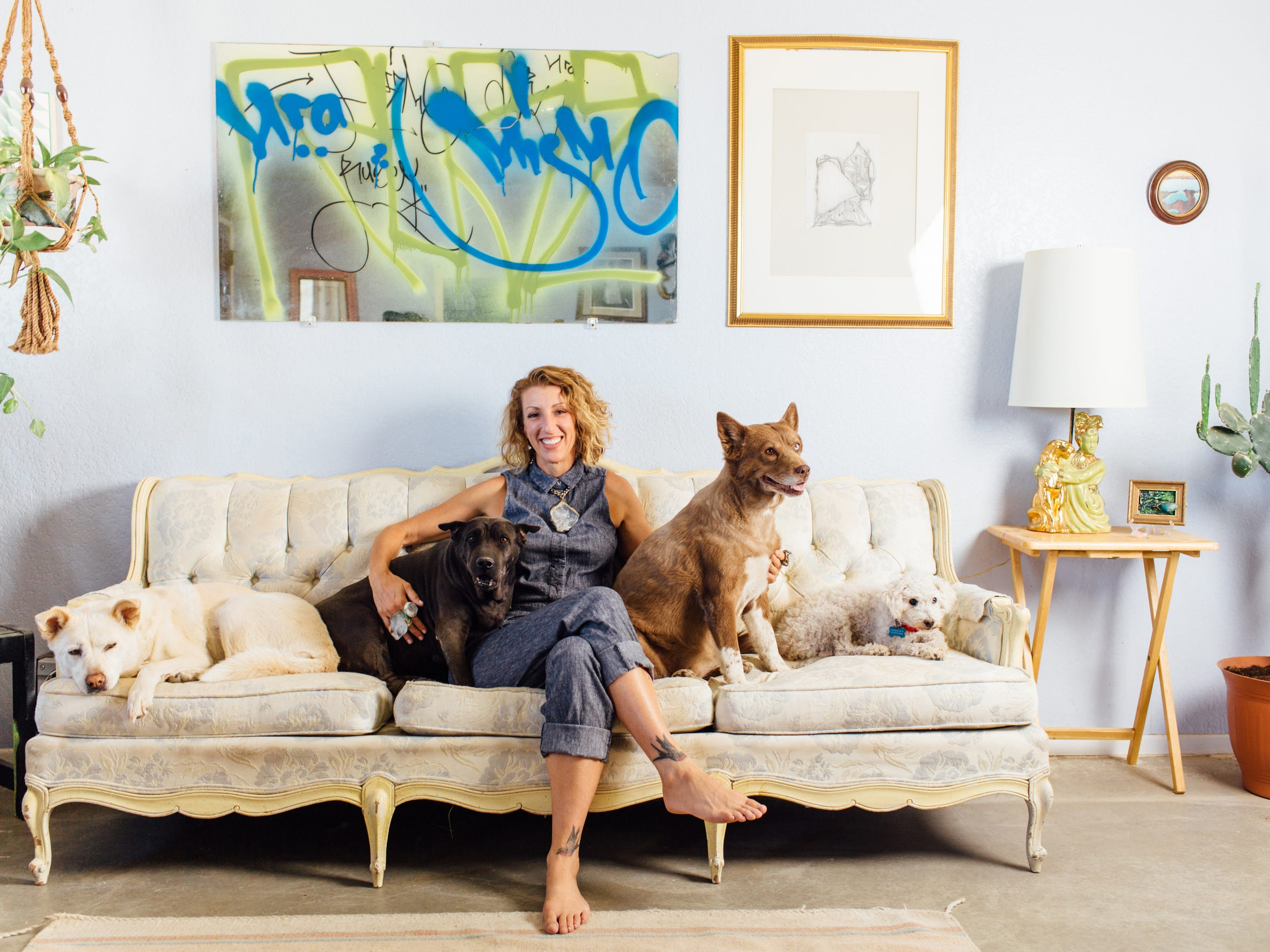 Adina Mills with her dogs.