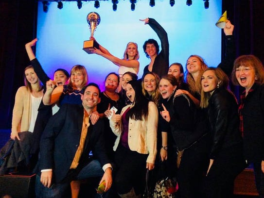 Christine Collier Clair, her partner and members of the Willamette Valley Vineyards team after she won Dancing with the Salem Stars on Saturday, March 10, at the Elsinore Theatre.