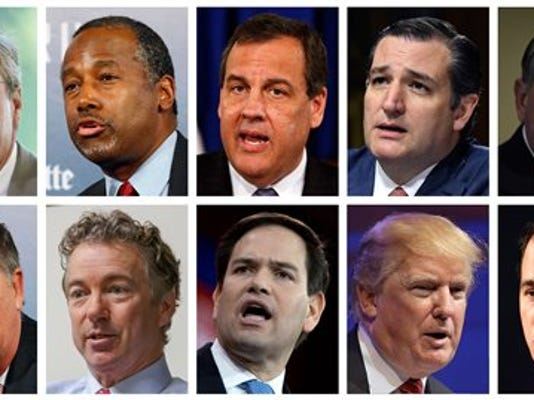 This combination of photos, from top left, shows Republican presidential candidates Jeb Bush, Ben Carson, Chris Christie, Ted Cruz, Mike Huckabee and from bottom left, John Kasich, Rand Paul, Marco Rubio, Donald Trump and Scott Walker. The candidates are scheduled to participate in a Fox News Channel Republican presidential debate on Thursday, Aug. 6, 2015.