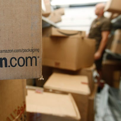 An Amazon.com package awaits delivery from UPS in Palo