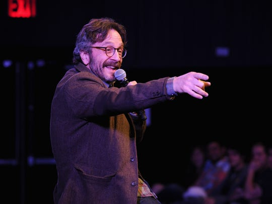Marc Maron performs on stage at The New Yorker Comedy Playlist at the MasterCard stage at SVA Theatre during The New Yorker Festival 2014 on Oct. 11, 2014 in New York City.