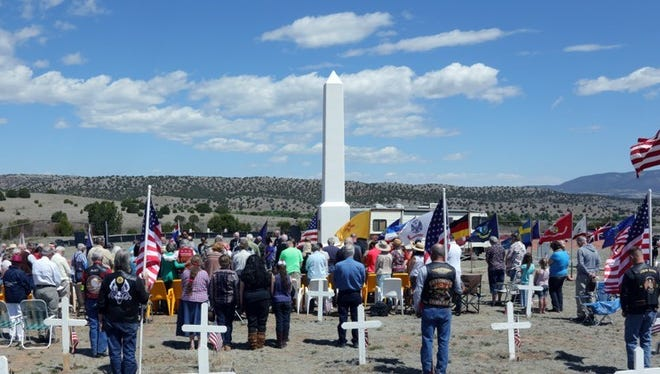 Visitors gathered at Fort Stanton State Veteran's Cemetery for Memorial Day services Saturday. Memorial Day, not to be confused with Veterans Day is a day of remembering the men and women who died while serving, Veterans Day celebrates the service of all U.S. military veterans.