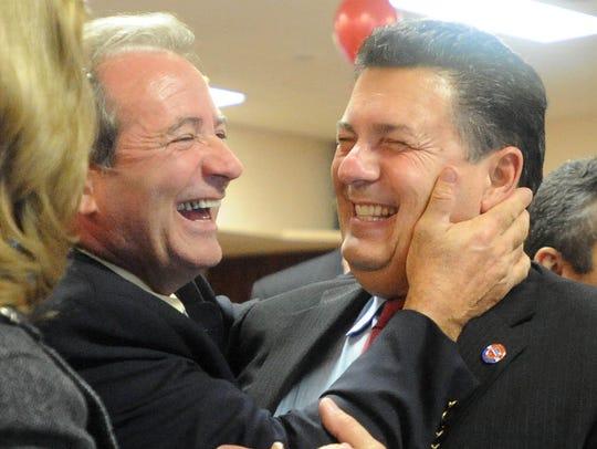 File: Republican Freeholder winner Sam Fiocchi (right)