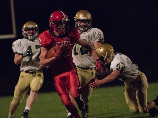 The Rockets' Jacob Miller rushed for 130 yards and two touchdowns in the first half.