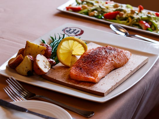 Alder Planted Fresh Salmon with roasted red potatoes