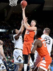 Syracuse's Tyler Lydon, a Pine Plains graduate, takes a shot during a game against Notre Dame in South Bend, Indiana on Jan. 21.