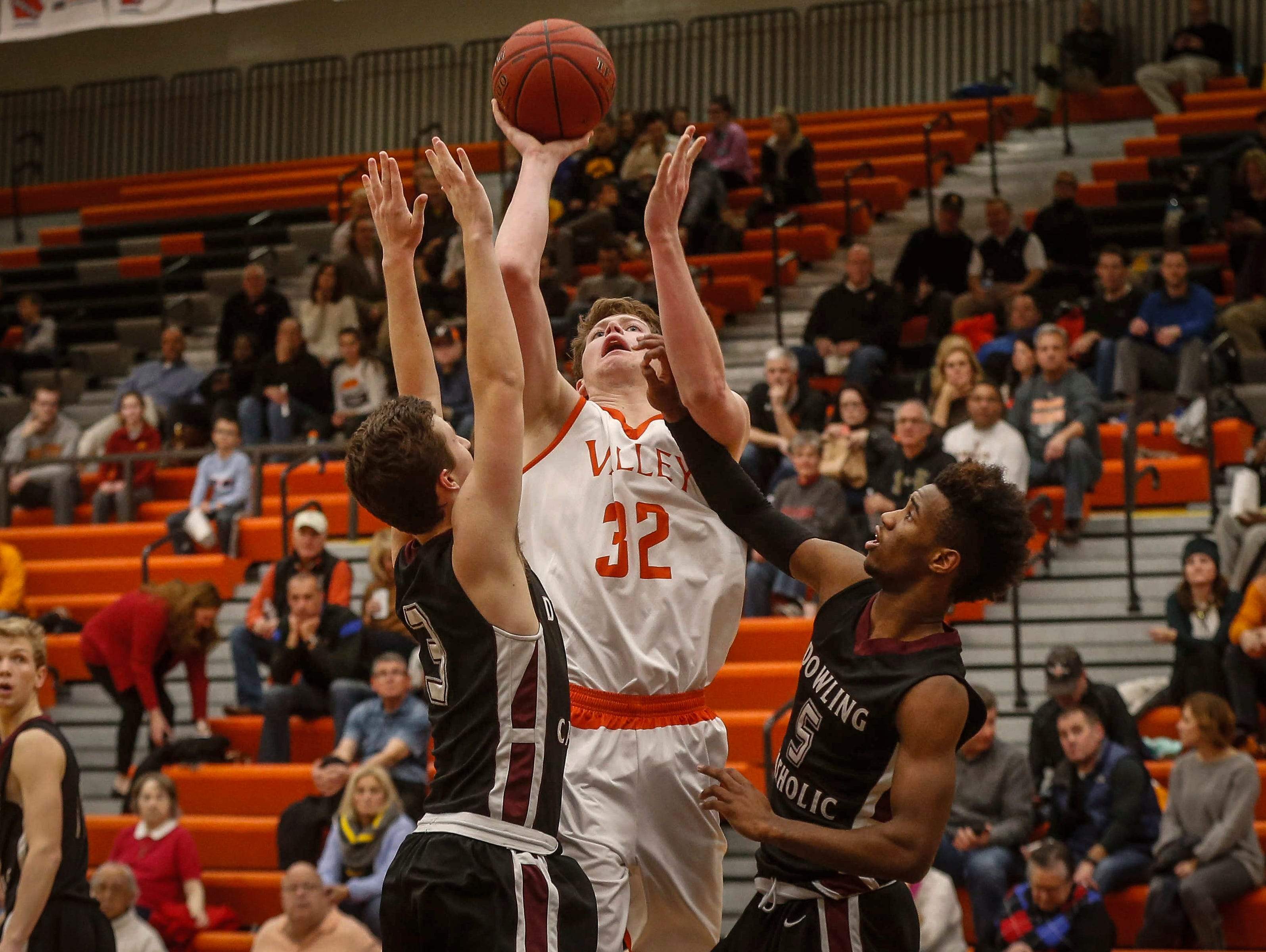 Valley senior Charley Crowley puts up a shot against Dowling Catholic on Tuesday, Jan. 10, 2017, at Valley High School in West Des Moines.