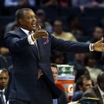 CHARLOTTE, NC - NOVEMBER 07:  Head coach Alvin Gentry of the Phoenix Suns reacts to a call against the Charlotte Bobcats during their game at Time Warner Cable Arena on November 7, 2012 in Charlotte, North Carolina.  NOTE TO USER: User expressly acknowledges and agrees that, by downloading and or using this photograph, User is consenting to the terms and conditions of the Getty Images License Agreement.  (Photo by Streeter Lecka/Getty Images)