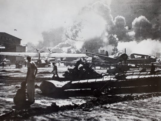 Explosion at Pearl Harbor.