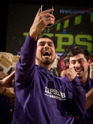 Lipscomb's Andrew Fleming reacts to learning they will play North Carolina in the NCAA tournament at Allen Arena, Sunday, March 11, 2018, in Nashville, Tenn.