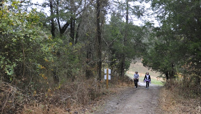 Cherie Hammond and Mitzi Greene walk up a steep trail at Brentwood's Marcella Vivrette Smith Park in 2014.