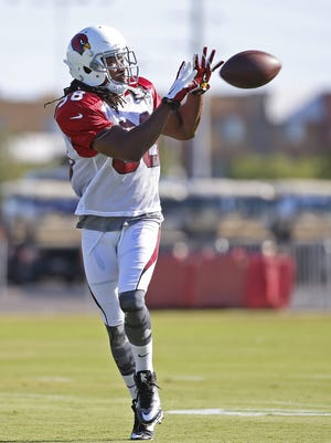 Cardinals' Andre Ellington (38) catches in a drill during an outdoor practice at University of Phoenix Stadium on August 14, 2016 in Glendale, Ariz.