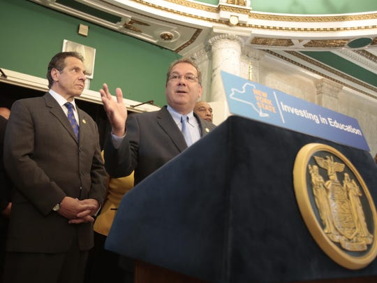 Yonkers Mayor Mike Spano and Gov. Andrew Cuomo at a news conference in Yonkers. In June, Albany coughed up $25 million to close the gap in the $550 million Yonkers budget for the 2015-16 school year.