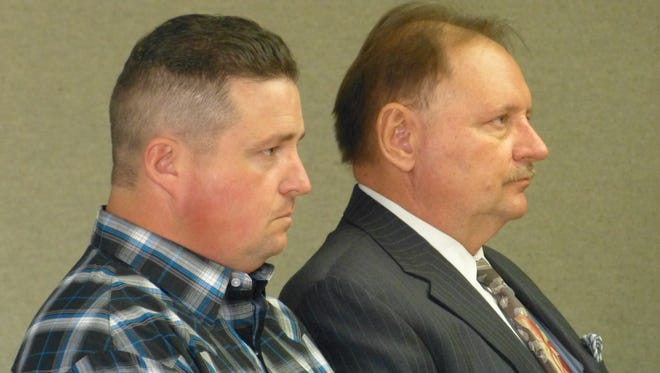 Roger Ladewig, left, pleads guilty Monday in Superior Court to vehicular manslaughter.