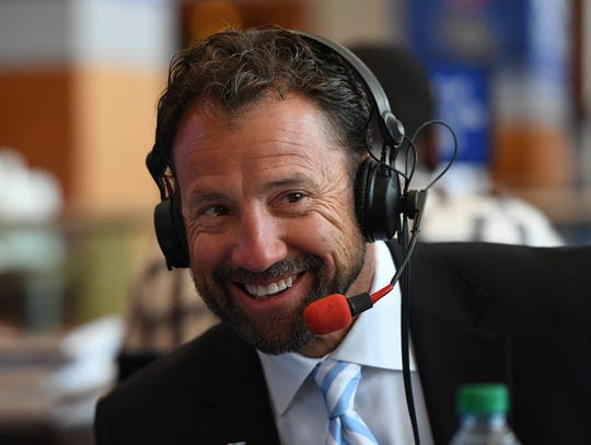 North Carolina head coach Larry Fedora is interviewed